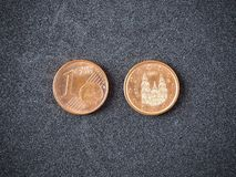 Spanish one euro coin head and tail on the gray background stock photo