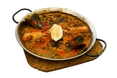 Spanish paella. In a pan Royalty Free Stock Photos
