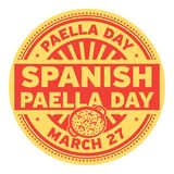 Spanish Paella Day stamp. Spanish Paella Day, March 27, rubber stamp, vector Illustration Stock Photos