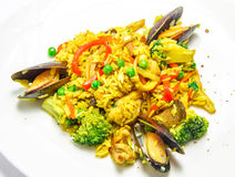 Spanish paella with mussels, food closeup Stock Photography