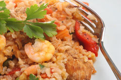 Spanish Paella with Prawns Royalty Free Stock Image