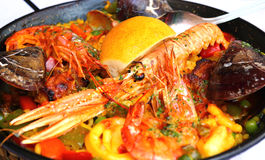 Spanish paella with seafood in a pan Royalty Free Stock Photography