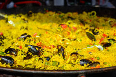 Spanish paella with shrimps and mussels. And saffron Stock Photo