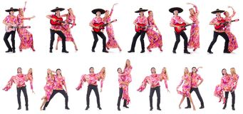 The spanish pair playing guitar and dancing Stock Images