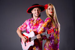 Spanish pair playing guitar Royalty Free Stock Photography