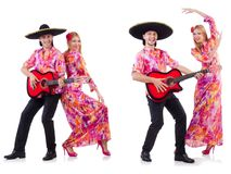 The spanish pair playing guitar and dancing Royalty Free Stock Images