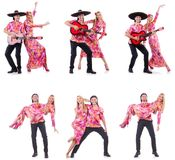 The spanish pair playing guitar and dancing Royalty Free Stock Photos