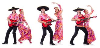 The spanish pair playing guitar and dancing Royalty Free Stock Photography