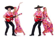 The spanish pair playing guitar and dancing Royalty Free Stock Photo