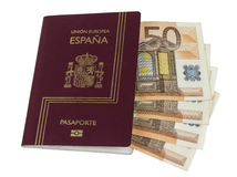Spanish Passport with Euros Royalty Free Stock Photo