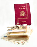 Spanish Passport, keys, money Royalty Free Stock Photo