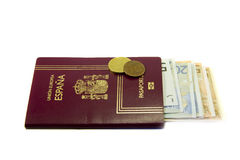 Spanish passport and money Royalty Free Stock Photo