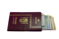 Spanish passport and money Royalty Free Stock Image