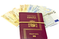 Spanish passport and money Stock Images