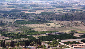 Spanish pastoral suburban landscape from high viewpoint Royalty Free Stock Image