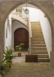 Spanish Patio. In the old Town of Palma de Mallorca Royalty Free Stock Image