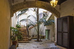 Spanish Patio. In the old Town of Palma de Mallorca Royalty Free Stock Photo