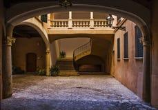 Spanish Patio. In the old Town of Palma de Mallorca Stock Photos