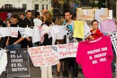 Spanish peaceful protest stock photo