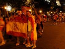 Spanish people celebrating victory Royalty Free Stock Photos