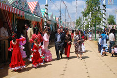 Spanish people at the Seville Fair. Royalty Free Stock Photos