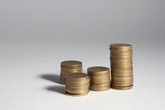Spanish pesetas coins, stacked Stock Image