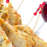 Spanish pincho de tortilla, spanish omelete served on bread Royalty Free Stock Image