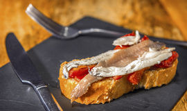 Spanish pintxo or pincho, montadito and tapas, from Basque Count Stock Photography