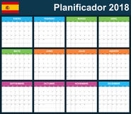 Spanish Planner blank for 2018. Scheduler, agenda or diary template. Week starts on Monday Royalty Free Stock Photography