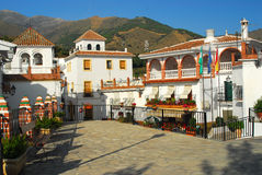 Spanish plaza. Picturesque town square during siesta time in Andalusia Stock Image