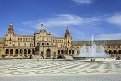 Spanish Plaza in Seville, Spain royalty free stock photos