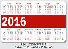 Spanish pocket calendar for 2016. Standard size ISO 7810 ID-1, vector Stock Image
