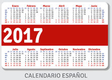 Spanish pocket calendar for 2017. Standard size ISO 7810 ID-1, vector template Stock Photos