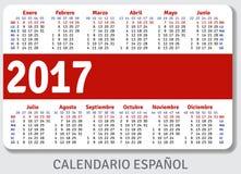 Spanish pocket calendar for 2017 Stock Photography