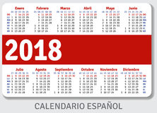 Spanish pocket calendar for 2018 Royalty Free Stock Photography