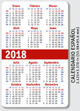 Spanish pocket calendar for 2018 Stock Photo