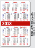 Spanish pocket calendar for 2018. Standard size ISO 7810 ID-1, vector template Stock Image