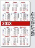 Spanish pocket calendar for 2018 Stock Image