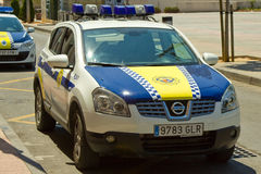 Spanish Police Car. A Spanish Police car parked at the side of the road outside of a Police Station Stock Images