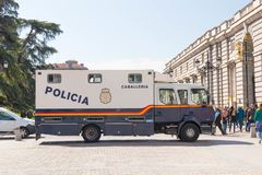 Madrid/Spain – 03.03.2019 : Police car near the royal palace in Madrid Spain royalty free stock images