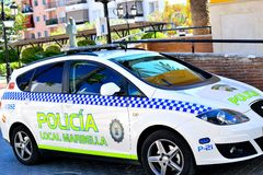 Spanish police car in San Pedro de Alcantara, Costa del Sol, Spain Royalty Free Stock Photos