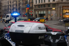 Spanish police car standing in the yard, Upper part with lights Stock Photo