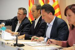 Spanish police about catalan referendum. BARCELONA/SPAIN - 28 SEPTEMBER 2017: Representatives of five unions of Spanish national police giving a statement to the Stock Images