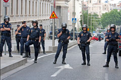 Spanish Police in Madrid during the protests Royalty Free Stock Photo