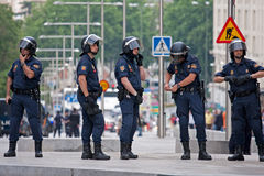 Spanish Police in Madrid during the protests Stock Photos