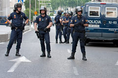 Spanish Police in Madrid during the protests. Spain, Madrid - 26 May 2011: Spanish Police by closing the street to the Congress building during the Protests in Royalty Free Stock Image