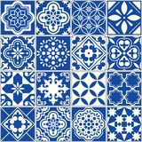 Spanish or Portuguese vector tile pattern, Lisbon floral mosaic, Mediterranean seamless navy blue ornament. Ornamental tile background, background inspired by vector illustration