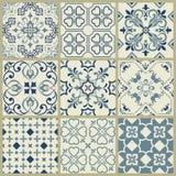 Spanish or Portuguese vector tile pattern, Lisbon floral mosaic, Mediterranean seamless navy blue ornament.Ornamental tile stock illustration
