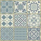 Lisbon geometric Azulejo tile vector pattern, Portuguese or Spanish retro old tiles mosaic, Mediterranean seamless navy blue desig. Spanish or Portuguese vector vector illustration