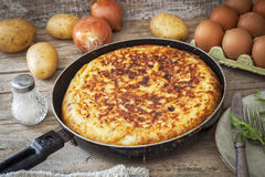 Spanish potato omelet. With ingredients Stock Images